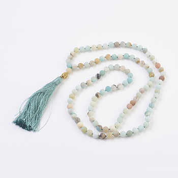 Amazonite Natural Amazonite Buddha Pendant Necklaces, with Alloy Findings and Nylon Tassels, 109 Beads, 39.3 inches (100cm), Pendant: 115mm long