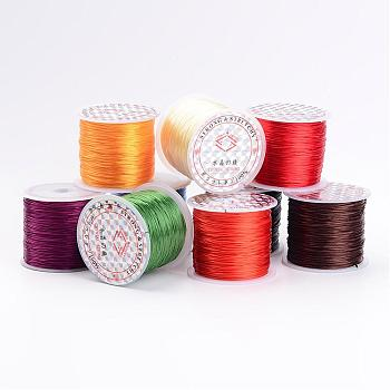 Flat Elastic Crystal String, Elastic Beading Thread, for Stretch Bracelet Making, Mixed Color, about 0.8mm thick, 60m/roll