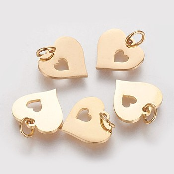 304 Stainless Steel Pendants, Heart with Heart, Golden, 12x12.5x1mm, Hole: 3mm