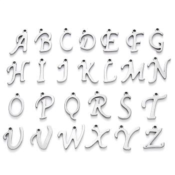 Encantos de 304 acero inoxidable, alfabeto, Corte con laser, color acero inoxidable, letra a Z ~, 10~14.5x4~14x1mm, agujero: 1 mm; 26pcs / set.