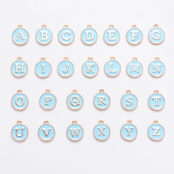 Golden Plated Alloy Enamel Charms, Enamelled Sequins, Flat Round with Alphabet, Letter A~Z, Turquoise, Light Sky Blue, 14x12x2mm, Hole: 1.5mm; 26pcs/set