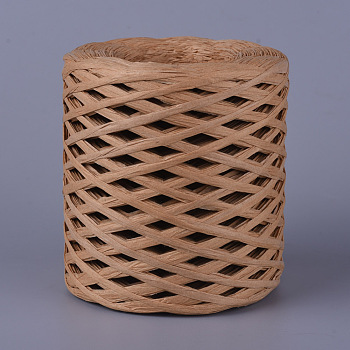 Environmental Raffia Paper Cords, Gift Box String/Cord, Camel, 4mm; about 200m/roll