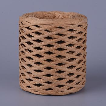 Cordes de papier de raphia écologiques, chaîne / cordon de boîte-cadeau, chameau, 4 mm; environ 200 m/rouleau