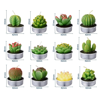 Cactus Paraffin Smokeless Candles, Artificial Succulents Decorative Candles, with Aluminium Containers, for Home Decoration, Green, 15.6x10.3x10.3cm; 12pcs/set