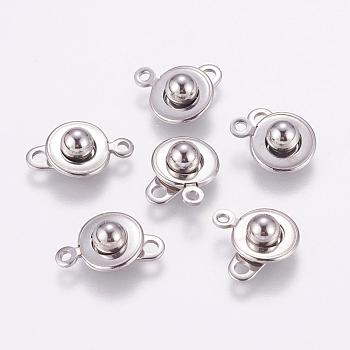 Stainless Steel Color 304 Stainless Steel Snap Clasps, Stainless Steel Color, 15.5x10x5mm, Hole: 1.5mm