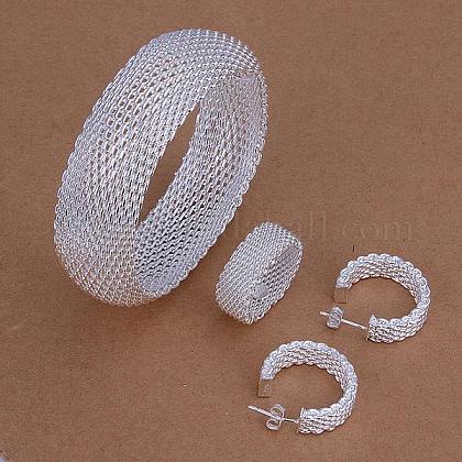 Conjuntos de joyas de fiesta de latón chapado en color plateadoSJEW-BB11202-1