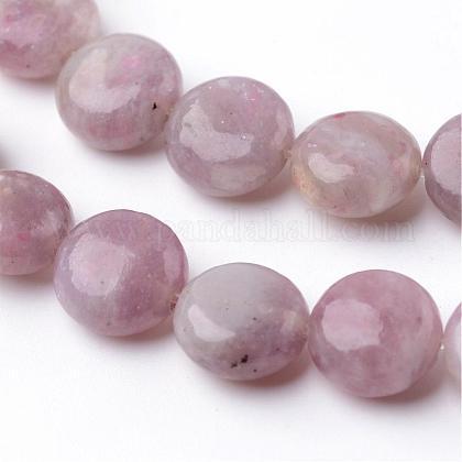 Dyed Flat Round Natural Pink Tourmaline Beads StrandsG-K089-A-02-1