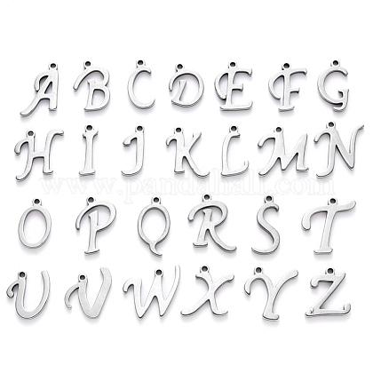 304ステンレススチール製チャーム  アルファベット  レーザー切断  ステンレス鋼色  手紙〜Zを  10~14.5x4~14x1mm  穴:1ミリメートル; 26個/セット。STAS-R105-1
