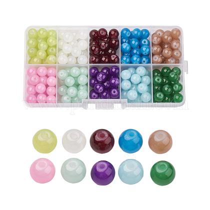 Imitation Jade Glass Beads StrandsDGLA-X0007-10mm-01-1