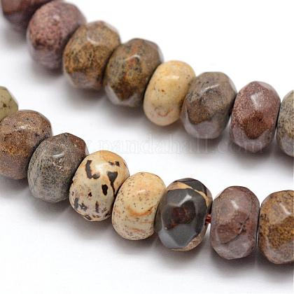 Faceted Natural Mookaite Rondelle Beads Strands G-K090-08-1