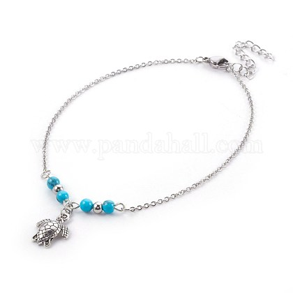 Synthetic Turquoise Charms AnkletsAJEW-AN00234-04-1
