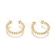 Brass Cuff Earrings, Long-Lasting Plated, Golden, 14x1.8~2.7mm
