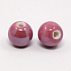 Pearlized PaleVioletRed Handmade Porcelain Round BeadsX-PORC-D001-10mm-06-2