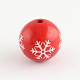 Round Acryic Snowflake Pattern BeadsX-SACR-S196-18mm-07-1