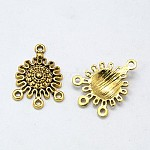 Tibetan Style Alloy Chandelier Components Links, Flat Round, Antique Golden, Lead Free and Cadmium Free; 27x18x3.5mm, Hole: 1.5mm
