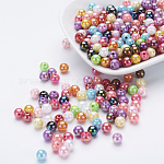 Environmental Poly Styrene Acrylic Beads, AB Color Plated, Round, Mixed Color, 6mm, Hole: 1mm; about 195pcs/20g