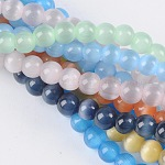 Cat Eye Beads, Round, Mixed Color, 4mm, Hole: 0.8mm; about 93~95pcs/strand