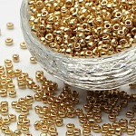 8/0 Electroplate Glass Seed Beads, Round Hole Rocailles, Golden Plated, 3x2.3mm, Hole: 0.7mm