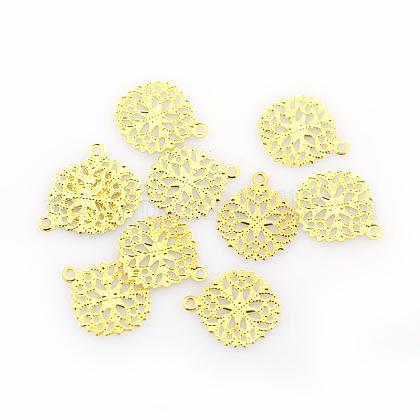 Flat Round Brass Flower Filigree Findings Charms PendantsX-KK-O015-05G-1