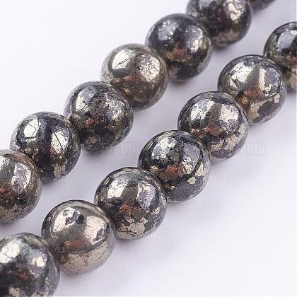 Natural Pyrite Beads StrandsG-P303-01-8mm-16-1