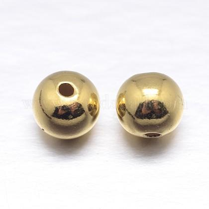 Vraies perles d'espacement rondes en argent sterling plaqué 18k or véritableSTER-M103-04-6mm-G-1