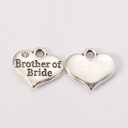 Свадьба поставок партия античный серебряный сплав горный хрусталь сердце резные слово брат семейных прелестей невесты свадебныеX-TIBEP-N005-27D-1