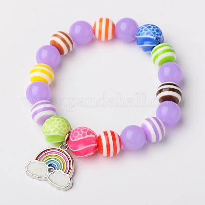 Abalorios redondos de acrílico de neón estiran las pulseras para los niñosBJEW-JB01456-02-1