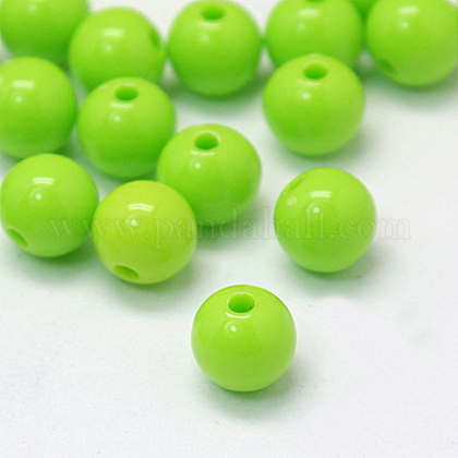 Verdes opacos redondas abalorios de acrílico entrepiezasX-PAB703Y-6-1