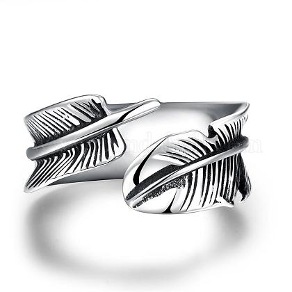 Fashionable Unisex 316L Stainless Steel Feather Cuff RingsRJEW-BB09945-8-1