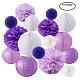 Bola de papel del panal, Lampara de papel, bola de flores, para la boda y decoración de fiesta de cumpleaños, púrpura, 20~30 cm
