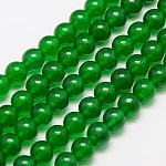 Natural Malaysia Jade Bead Strands, Round Dyed Beads, Green, 6mm, Hole: 1mm; about 64pcs/strand, 15