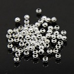 Plating Plastic Acrylic Round Beads, Silver Plated, 3mm, Hole: 1mm; about 33000pcs/pound