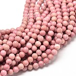 Natural Rhodochrosite Round Bead Strands, 6mm, Hole: 1mm; about 58~65pcs/strand, 16inches