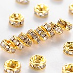 Brass Grade A Rhinestone Spacer Beads, Golden Plated, Rondelle, Nickel Free, Crystal, 4x2mm, Hole: 0.8mm