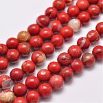 Natural Red Jasper Beads Strands, Round, Grade AB, Red, 4mm, Hole: 1mm; about 95pcs/strand, 15.5inches