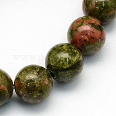 Natural Unakite Round Beads Strands, 6.5mm, Hole: 1mm; about 63pcs/strand, 15.5