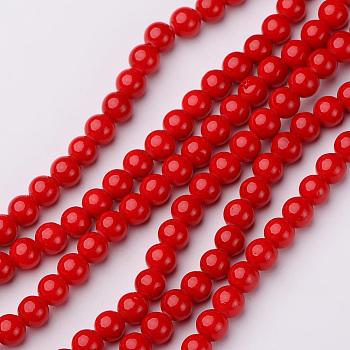 Natur Mashan Jadekorn Stränge, Runde, gefärbt, rot, 6 mm, Bohrung: 1 mm; ca. 65 Stk. / Strang, 16 Zoll