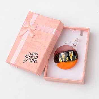 Orange Box-packed Handmade Dichroic Glass Pendants, Half Round Lampwork Pendant with Random Color Exquisite Cardboard Necklace Box, Orange, 29~31x11.5~12.5mm, Hole: 5~7mm