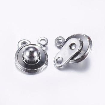 Stainless Steel Color 304 Stainless Steel Snap Clasps, Stainless Steel Color, 15x10x5mm, Hole: 1.5mm and 2mm