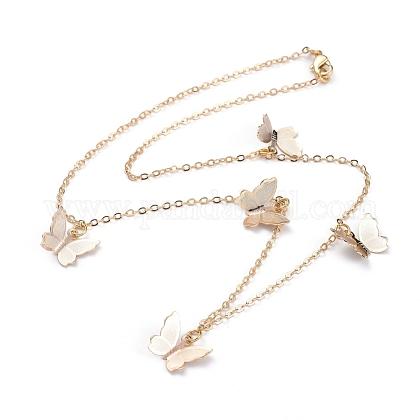 Collares colgantes de mariposa de latónNJEW-JN02678-01-1