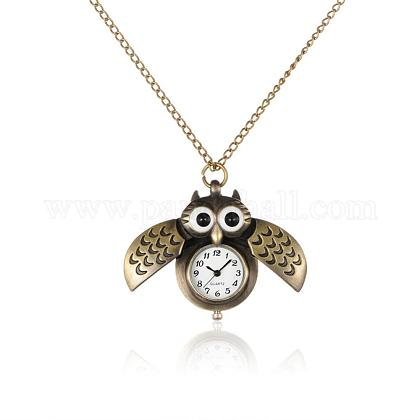 合金のかわいいオープンクローズウィングフクロウペンダントのネックレスクォーツ懐中時計WACH-N006-01-1
