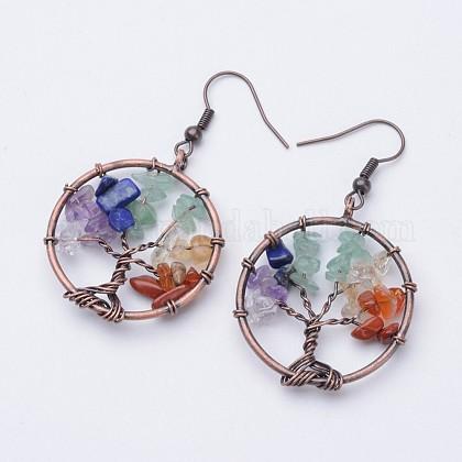 Natural Gemstone Dangle EarringsEJEW-F054-02-1