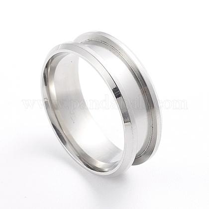 201 ajuste de anillo de dedo ranurado de acero inoxidableX-MAK-WH0007-16P-1