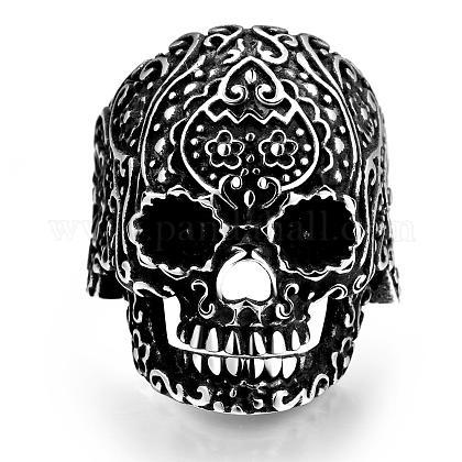 Punk Rock Style 316L Stainless Steel Skull Finger Rings for MenRJEW-BB01212-9AS-1