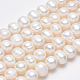 Grado de hebras de perlas de agua dulce cultivadas naturalesPEAR-L001-B-08-4