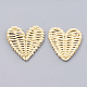 Handmade Spray Painted Reed Cane/Rattan Woven Beads X-WOVE-N007-06F-1