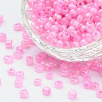 Glass Seed Beads, Ceylon, Round, Pink, 3mm, Hole: 1mm; about 10000pcs/pound