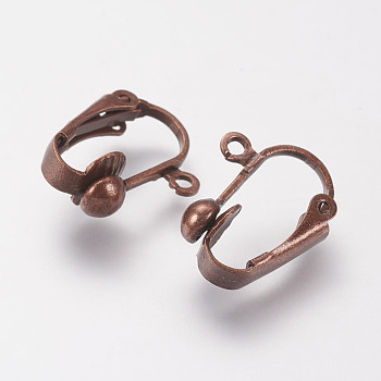 Brass Clip-on Earring Findings, Nickel Free, Red Copper, 17x14x7mm, Hole: 1mm