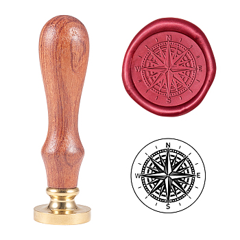 DIY Scrapbook, Brass Wax Seal Stamp and Wood Handle Sets, Compass Pattern, Golden, 8.9cm, Stamps: 2.55x1.4cm