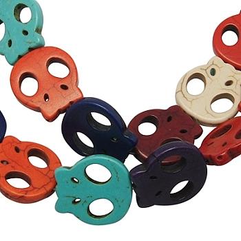 Синтетические шарики Говлит, Хэллоуин, череп, окрашенные, разноцветные, Размер : шириной около 20 мм , 21 мм длиной, толстый 4 мм , отверстие : 1 мм, 15.5 дюйм